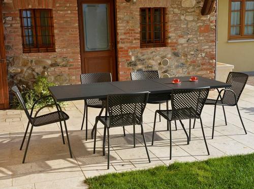 "ESTATE -  9 Piece Steel Extension-Table Patio Set 36""x63-87"""