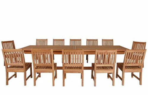 "BRUNEI - Teak 13 Piece - Double-Extension-Table Patio Set 43""x77-97-117"""