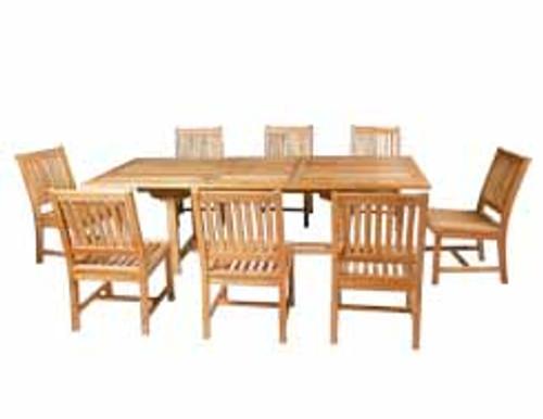 """SINGAPORE - Teak 9 Piece Double-Extension-Table Patio Set 43""""x71-83-94"""""""