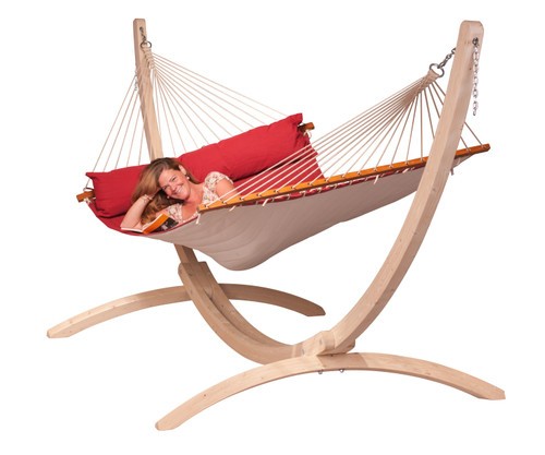 CLASSIC WOOD HAMMOCK SET - RED (out of stock)
