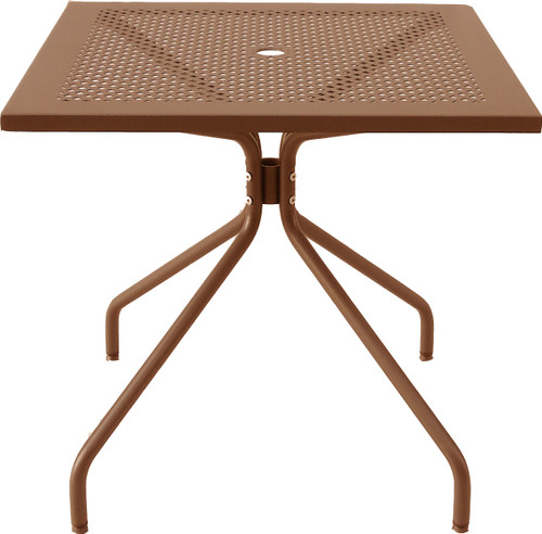 Smooth solid top with laser cut perforation. Each table leg has an adjustable glide. Has umbrella hole.