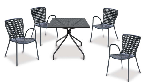 """32""""x32"""" Table + 4 Stacking Armchairs"""