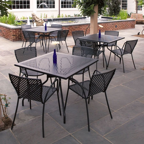"""CAFE' 32""""x32"""" OUTDOOR DINING SET (Carbon)"""