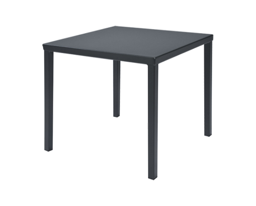 Smooth solid top. Each table leg has an adjustable glide.