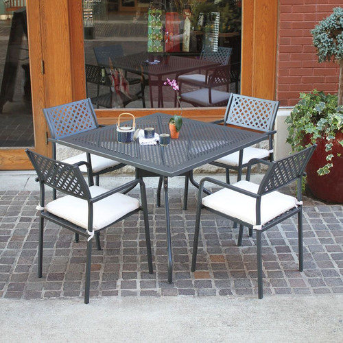 """32""""x32"""" Table + 4 Stacking Armchairs. Cushion not included."""