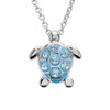 Sea Turtle Necklace With Aqua Swarovski Crystals - ShanOre