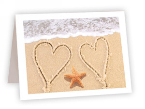Hearts and Starfish Greeting Card - Valentine's Day, Anniversary