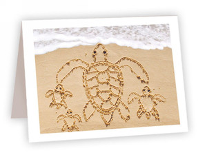 Turtle Family Sand Drawing Card