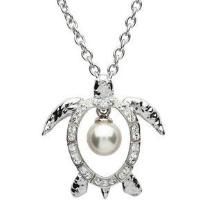 Sea Turtle Necklace with Suspended Pearl - ShanOre