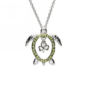 Shamrock Turtle Necklace with Peridot Crystals