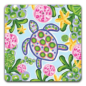 Blue & Pink Sea Turtle Absorbent Coaster