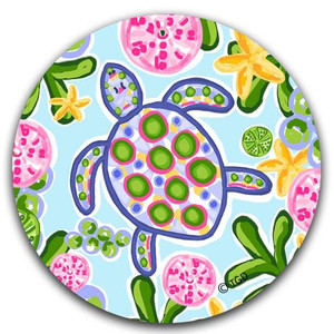 Coastal Sea Turtle Fabric Car Coaster - Blue & Pink