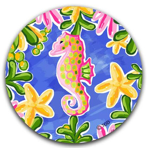 Coastal Seahorse & Starfish Fabric Car Coaster