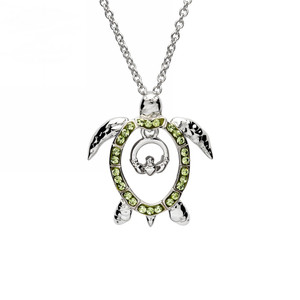 Claddagh Turtle Necklace with Peridot Crystals - ShanOre