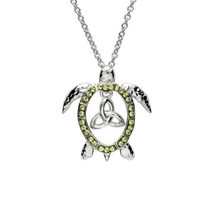 Trinity Turtle Necklace with Peridot Crystals