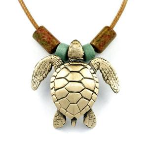 Green Sea Turtle Bronze Pendant