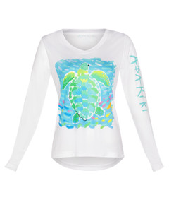 Abakiki Island Turtle Ladies Long Sleeve Performance Shirt