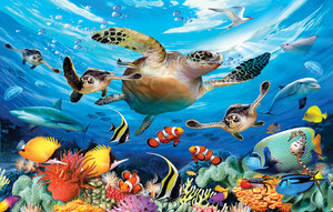Journey of the Sea Turtles - 100 Piece Puzzle
