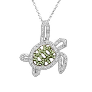 Green Turtle Necklace Encrusted with White Swarovski Crystals