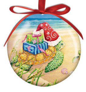 Holiday Sea Turtle Ball Ornament