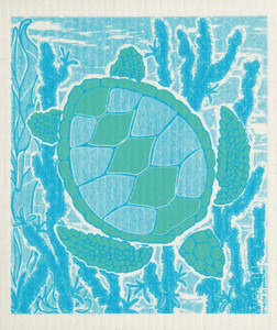 Diving Sea Turtle Swedish Dish Cloth