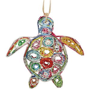 Recycled Magazine Sea Turtle Ornament