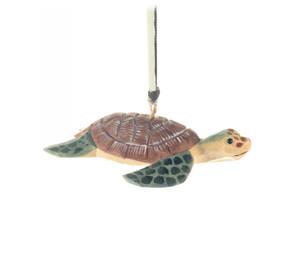 Sea Turtle Hand Carved Wood Ornament
