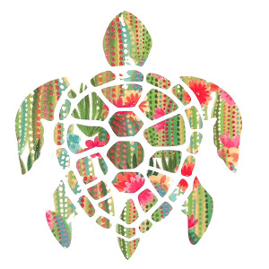 Sea Turtle Dots Flowers Decal