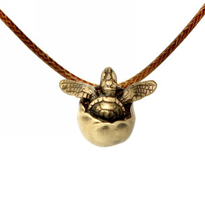 """Hope"" Baby Sea Turtle Bronze Egg Pendant Hatching"