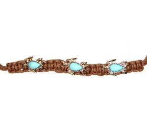Turtles Silver Turquoise Macramé Bracelet