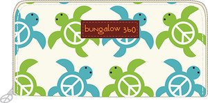 Sea Turtle Cotton Canvas Zip Wallet