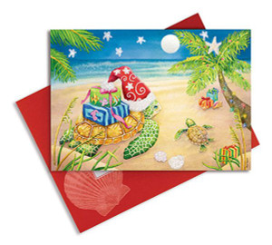 Embellished Sea Turtle Holiday Cards - Box of 16