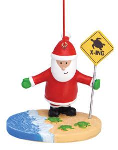 Turtle Crossing Santa Ornament