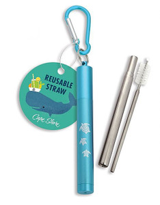 Collapsible Straw with Sea Turtle Case