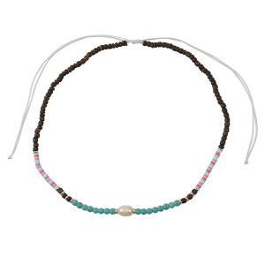 Coco Shell, Turquoise Howlite, & Freshwater Pearl Adjustable Necklace