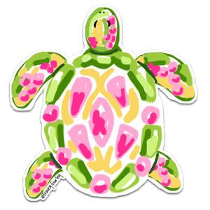 Green & Pink Sea Turtle Decal