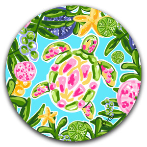 Green & Pink Sea Turtle Absorbent Car Coaster