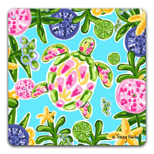 Green & Pink Sea Turtle Absorbent Coaster