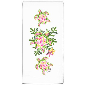 Green & Pink Sea Turtle Dish Towel