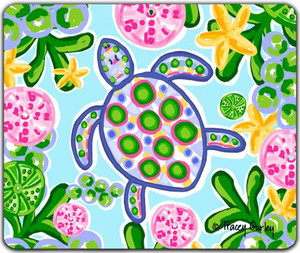 Blue & Pink Sea Turtle Mouse Pad