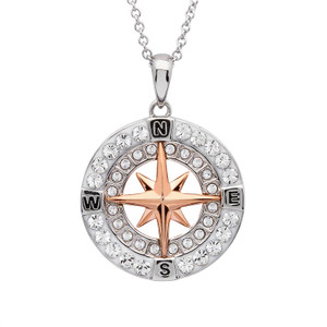 Rose Gold Compass Necklace with Swarovski Crystals
