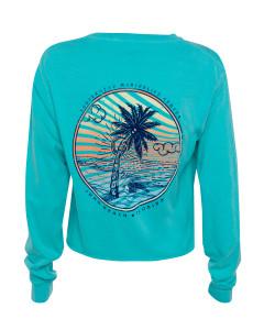 Sea Turtle Beach Cropped Long Sleeve Shirt