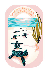 Respect The Locals Hatchlings on Beach Sticker
