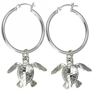 Hatchling Sea Turtle Hoop Earrings - Sterling Silver
