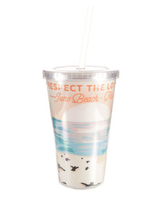 Respect The Locals Hatchlings on Beach Acrylic Tumbler with Straw