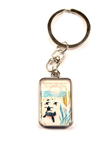 Respect The Locals Hatchlings on Beach Keychain