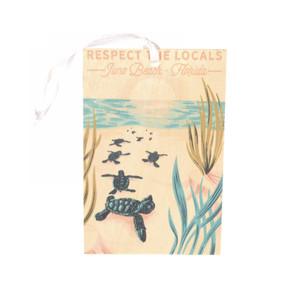 Respect The Locals Hatchlings on Beach Wood Ornament