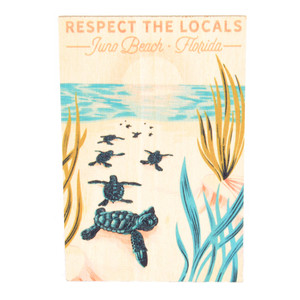 Respect The Locals Hatchlings on Beach Wood Magnet