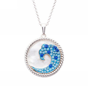 Blue Wave Mother of Pearl Pendant