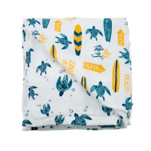 Surf & Sea Turtles Luxury Muslin Snuggle Blanket
